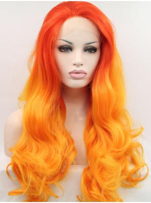Curly Strawberry To Orange Red Stylish Synthetic Lace Wigs Whole Sale