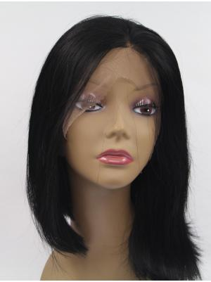 Black Straight Chin Length Designed Wig Front Lace
