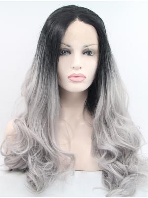 Black To Grey Curly Long Suitable Quality Lace Wigs