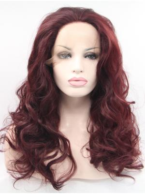 Discount Synthetic Auburn Curly 18 Inches Lace Front Wigs