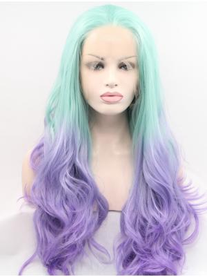 Light Blue To Purple Curly Long Exquisite Wigs Lace Front