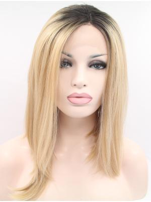 Straight Blonde Stylish Synthetic Lace Wig