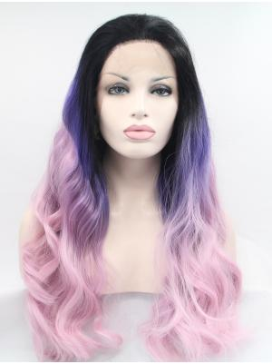 23 Inches Black To Regency To Skin Pink Sassy Long Wavy Best Lace Wigs