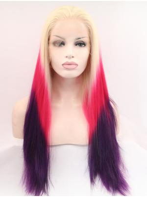 Top Synthetic Blonde To Fuchsia To Purple Straight 27 Inches Glueless Lace Wigs