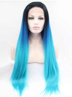 Affordable Synthetic Black To Brigfht Blue Straight 30 Inches Lace Frontal