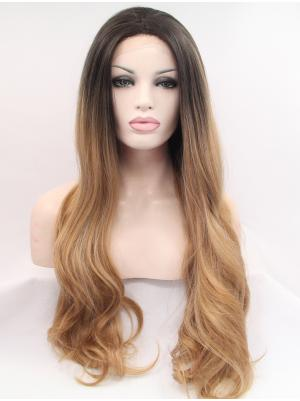 Beautiful Synthetic Brown To Dark Blonde Wavy 30 Inches Front Lace Wig