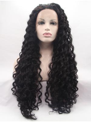 Curly Black Durable Synthetic Lacefront Wig
