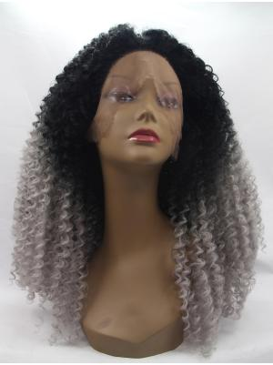 Kinky Black To Grey Ideal Synthetic Lace Wig Cap