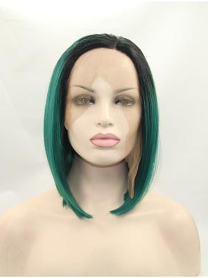 Black To Hunter Straight Chin Length Durable Wig Lace Front