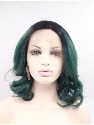 Curly Black To Emerald Ombre Durable Synthetic Lace Wig Buy