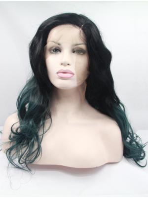 Black To Emerald Curly Long Stylish Wig Lace Fabric