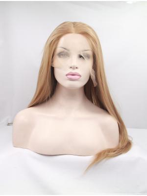 No-fuss Synthetic Blonde Straight 18 Inches Lace Cap Wig