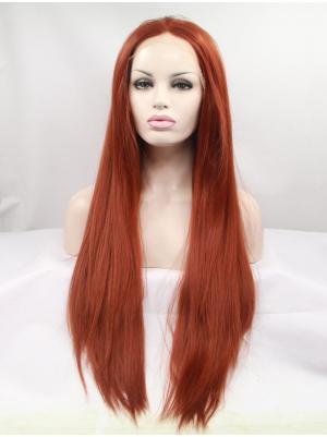 Straight Auburn Convenient Synthetic Lace Wig Sale