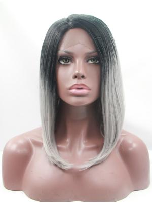 Soft Synthetic Black To Grey Straight 12 Inches Hair Lace Wig