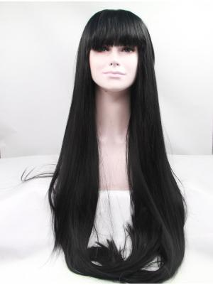 42 Inches Black Fashion Long Straight Cheap Lace Wigs