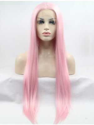 Straight Baby Pink New Synthetic Lace Wigs Whole Sale