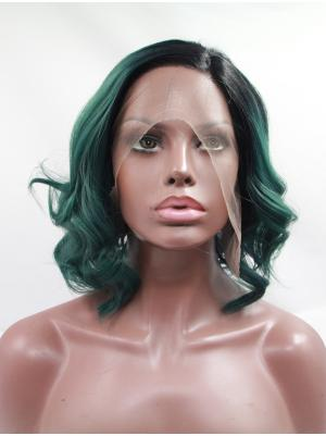 Sleek 11 Inches Curly Lace Front Emerald With Dark Roots Bob Wigs