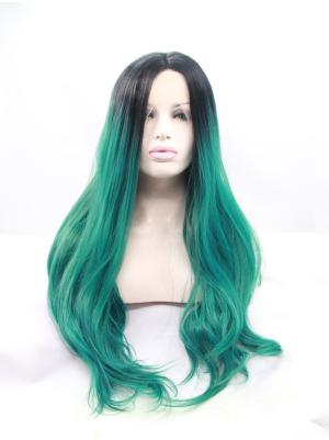 Black To Jade Wavy Long Incredible Quality Lace Wigs