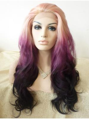 Wavy Pink To Purple To Black Incredible Synthetic Lace Wigs