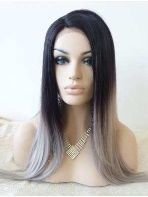 Modern Synthetic Dark Navy To Grey Straight 22 Inches Front Lace Wigs
