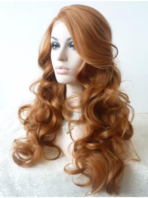 Stylish Synthetic Blonde Curly 21 Inches Glueless Lace Wigs