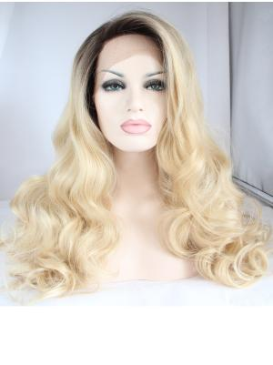 Designed Synthetic Blonde Curly 18 Inches Front Lace Wig