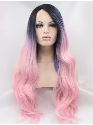 Purple To Peach Wavy Long Sassy Stylish Lace Wigs