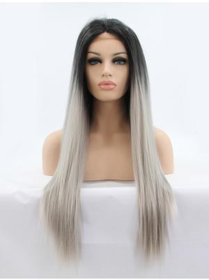 26 Inches Black To Silver Affordable Long Straight Cheap Lace Wigs