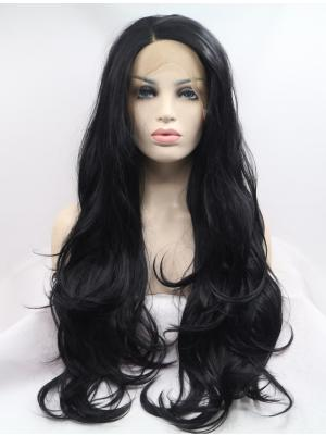 Fashionable Synthetic Black Wavy 28 Inches Lace Front Wig