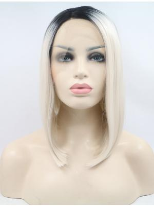 Grey With Dark Roots 10 Inches Chin Length Straight Lace Front Bob Haircuts
