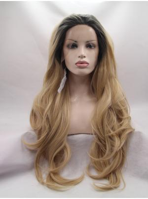 Fabulous Synthetic Black To Blonde Wavy 27 Inches Front Lace Wigs