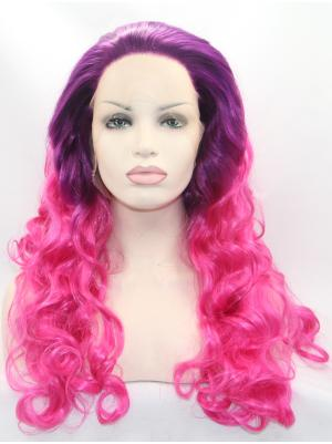 Fuchsia To Hot Pink Curly Long Online Wig Lace