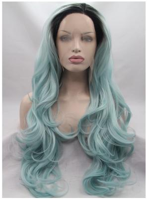 25 Inches Black To Mint Affordable Long Wavy Best Lace Wigs