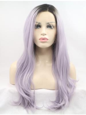 Best Synthetic Candy Purple With Brown Roots Wavy 23 Inches Glueless Lace Wigs