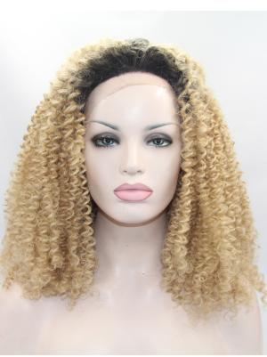 Kinky Blonde With Dark Roots Fabulous Synthetic Lace Wigs Front