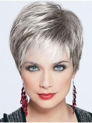Straight Cropped 4 Inches Style Synthetic Grey Wigs For Women