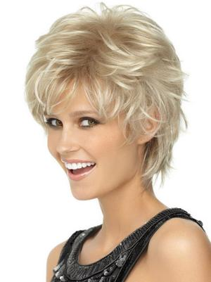 Natural Synthetic Blonde Capless 6 Inches Wavy Boycut Wigs