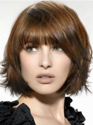 Brown 10 Inches Chin Length Straight Capless Bob Style Wigs