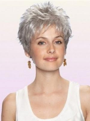 Wavy 3 Inches Sassy Grey Short Cropped Wigs