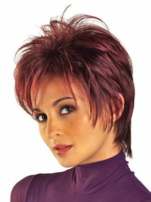Discount Synthetic Red Capless 6 Inches Straight Best Cropped Wigs