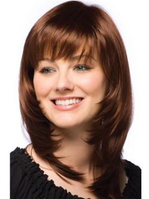 Straight Auburn 12 Inches Layered Affordable Wigs