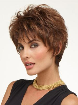 Capless 6 Inches High Quality Wavy Very Short Cropped Wigs