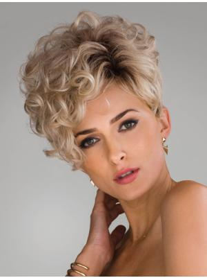 8 Inches Short Curly Synthetic Convenient Blonde Wig