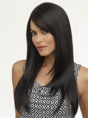 16 Inches Long Yaki Synthetic Top Black Wig