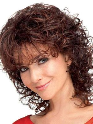 Curly Auburn 12 Inches With Bangs Modern Wigs