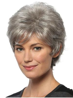 Salt and Pepper Colour Wavy 8 Inches Soft Short Synthetic Hair Wigs
