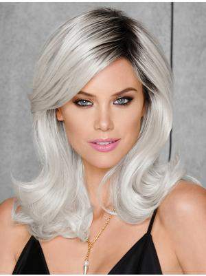Grey With Black Roots Wavy 15 Inches New Shoulder Length Cheap Synthetic Wigs