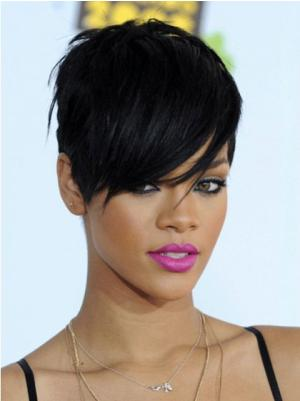 Straight 6 Inches Comfortable Black Short Hair Wigs