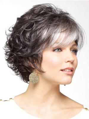 Salt and Pepper Colour Curly 6 Inches No-fuss Short Synthetic Wigs Women