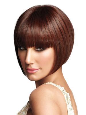 Auburn 8 Inches Chin Length Straight Capless Bob Style Wig